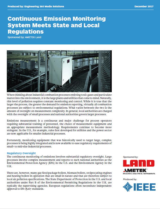 Continuous Emission Monitoring System Meets State and Local Regulations