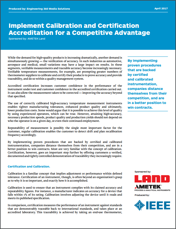 Implement Calibration and Certification Accreditation for a Competitive Advantage