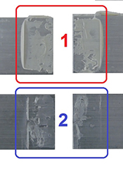 Test samples with coadhesive failures